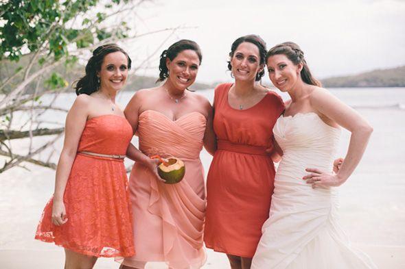 Vestidos de dama de Honra de Corais NAS Ilhas Virgens Destination Wedding los St. John