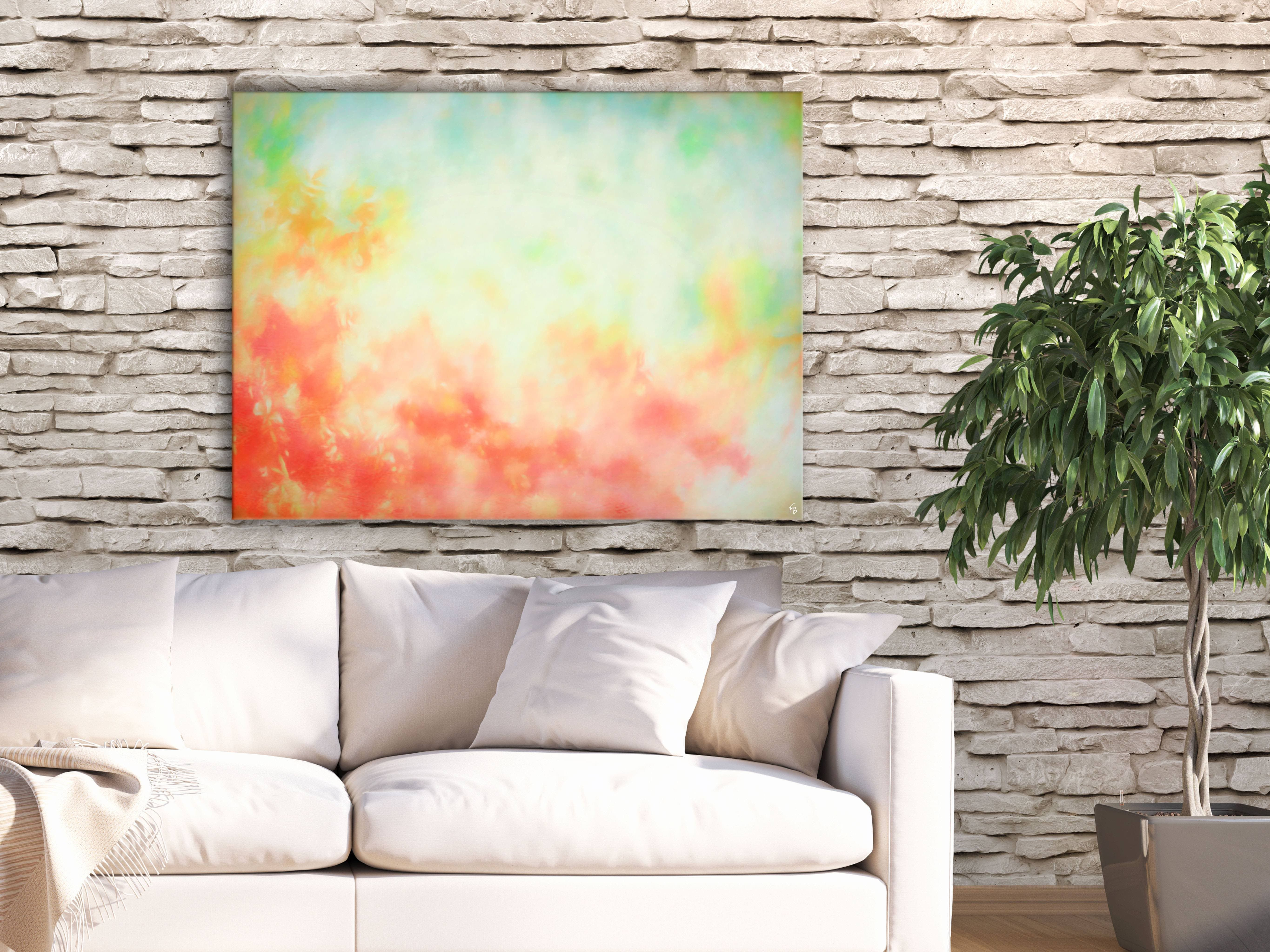 Bring a warm cozy feeling to your dining room red large painting by frabor art