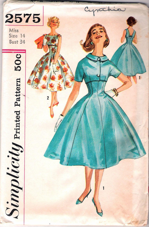Vintage us simplicity one piece dress u short cropped