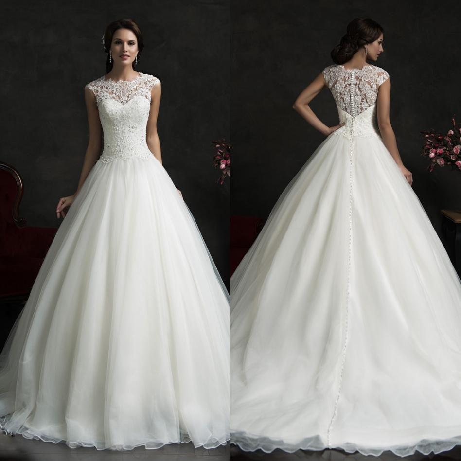 amelia sposa spring fall wedding dresses with sheer crew neck