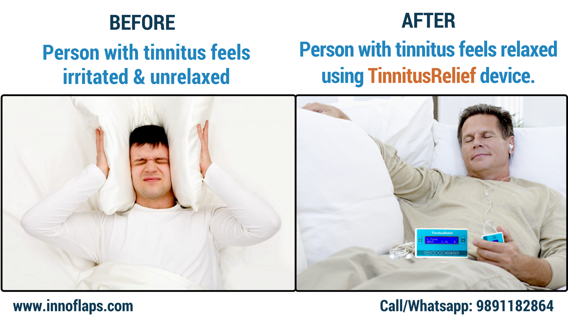 Effectiveness of using #TinnitusRelief device for patients with ringing, buzzing or any noise in ears can be seen after using the device with instant result. For more info, visit http://innoflaps.com/tinnitusrelief/ Call/WhatsApp-9891182864
