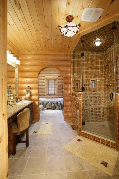 Log Cabin Master Bathroom Log Log Home Bathrooms Log Cabin Bathrooms Log Home Interior