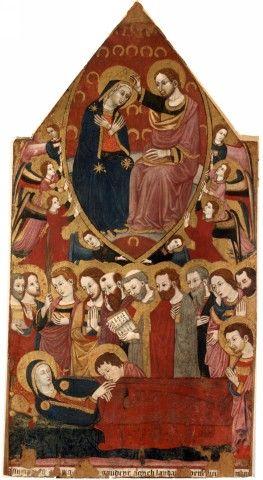 Maestro di Narni del 1409 - Transito della Madonna - retro Stendardo ligneo bifacciale - Narni - Museo Eroli