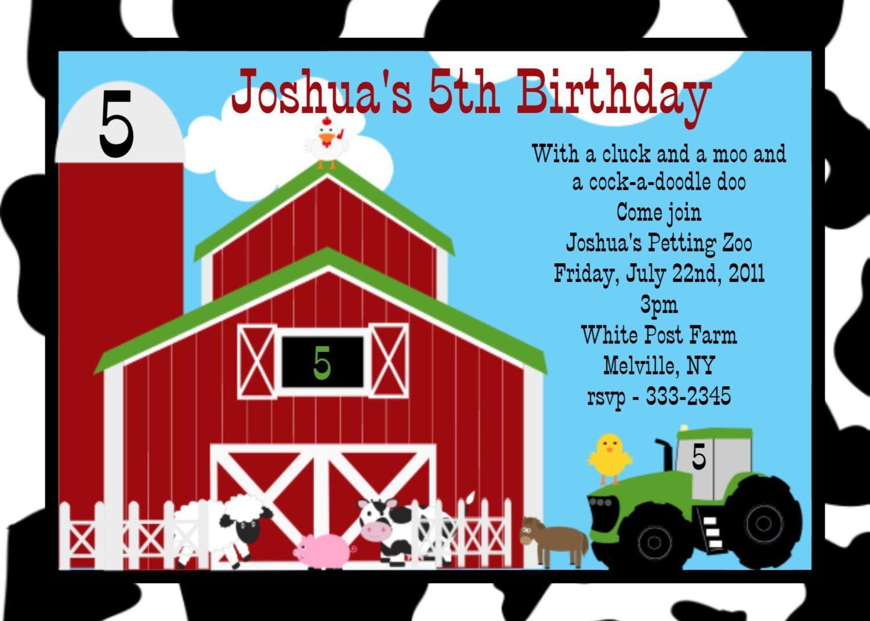 Farm Birthday Party Invitations | Birthday Party | Pinterest | Farm ...