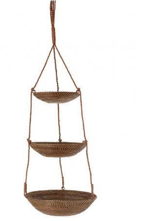 3 Tier Hanging Basket In Rattan Nito Hanging Baskets Small Bathroom Decor Rattan Basket