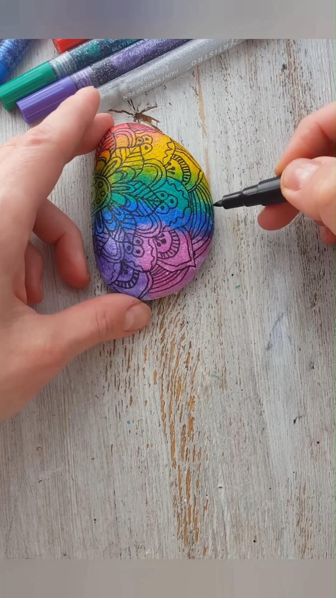 Colorful Rock Painting Rainbow Ideas