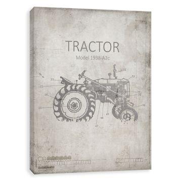 Farm tractor blueprint canvas art print tractor farming and farm tractor blueprint canvas art print malvernweather Images