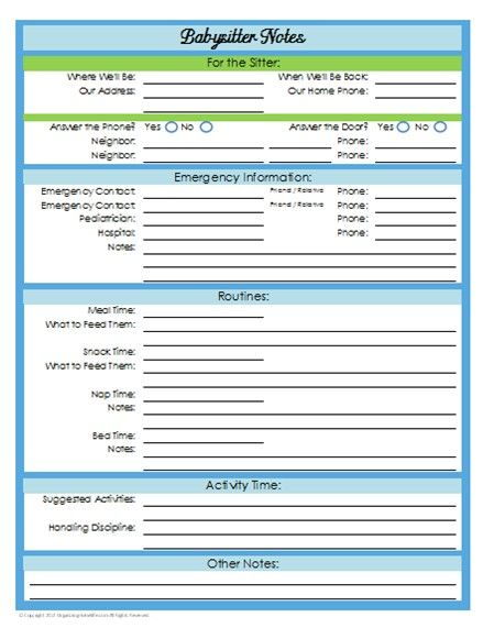 Printable Babysitting Checklist (have Parents Fill Out Before