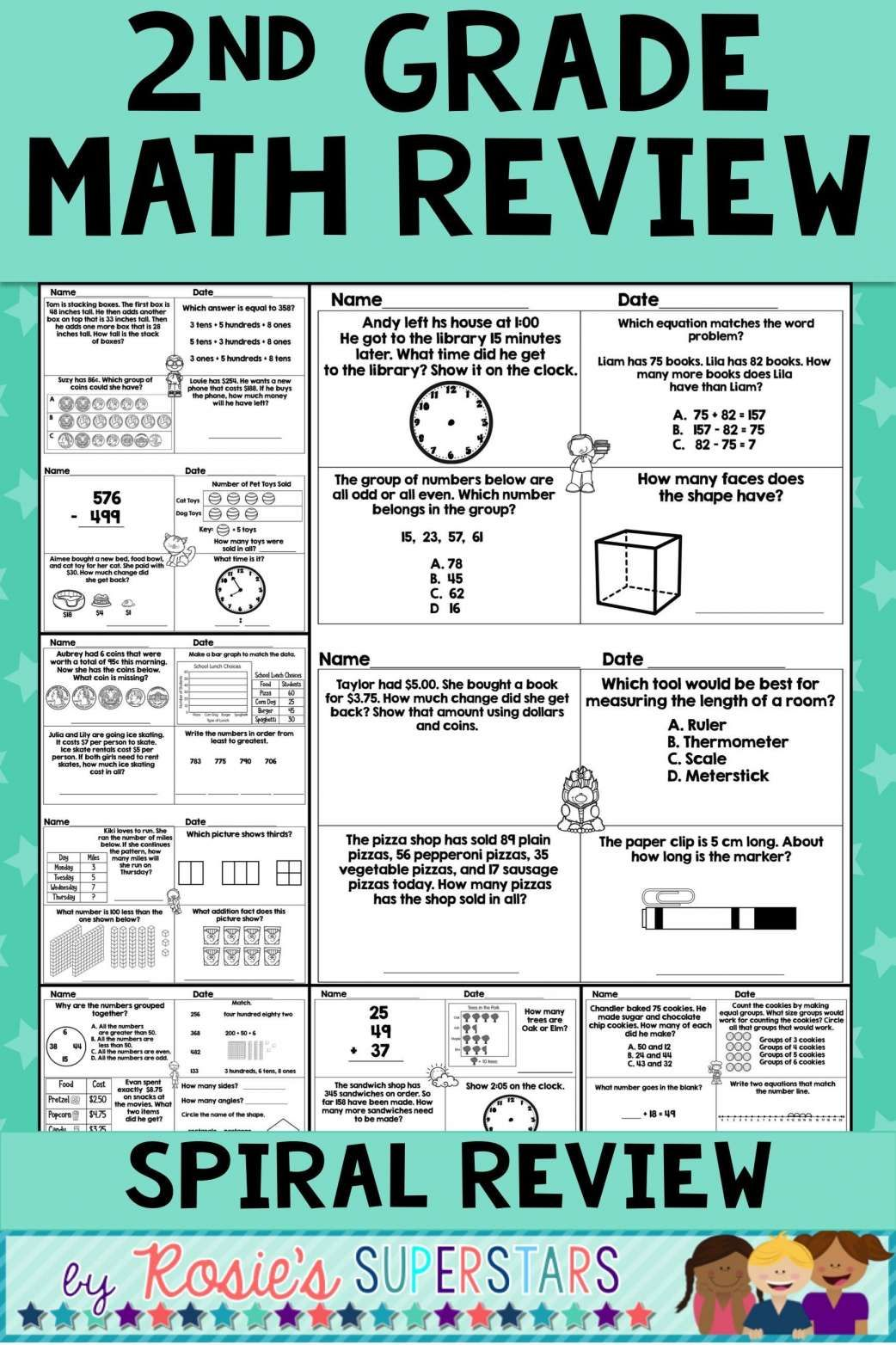 2nd Grade Math Group Of 10 Worksheets   Printable Worksheets and Activities  for Teachers [ 1564 x 1042 Pixel ]