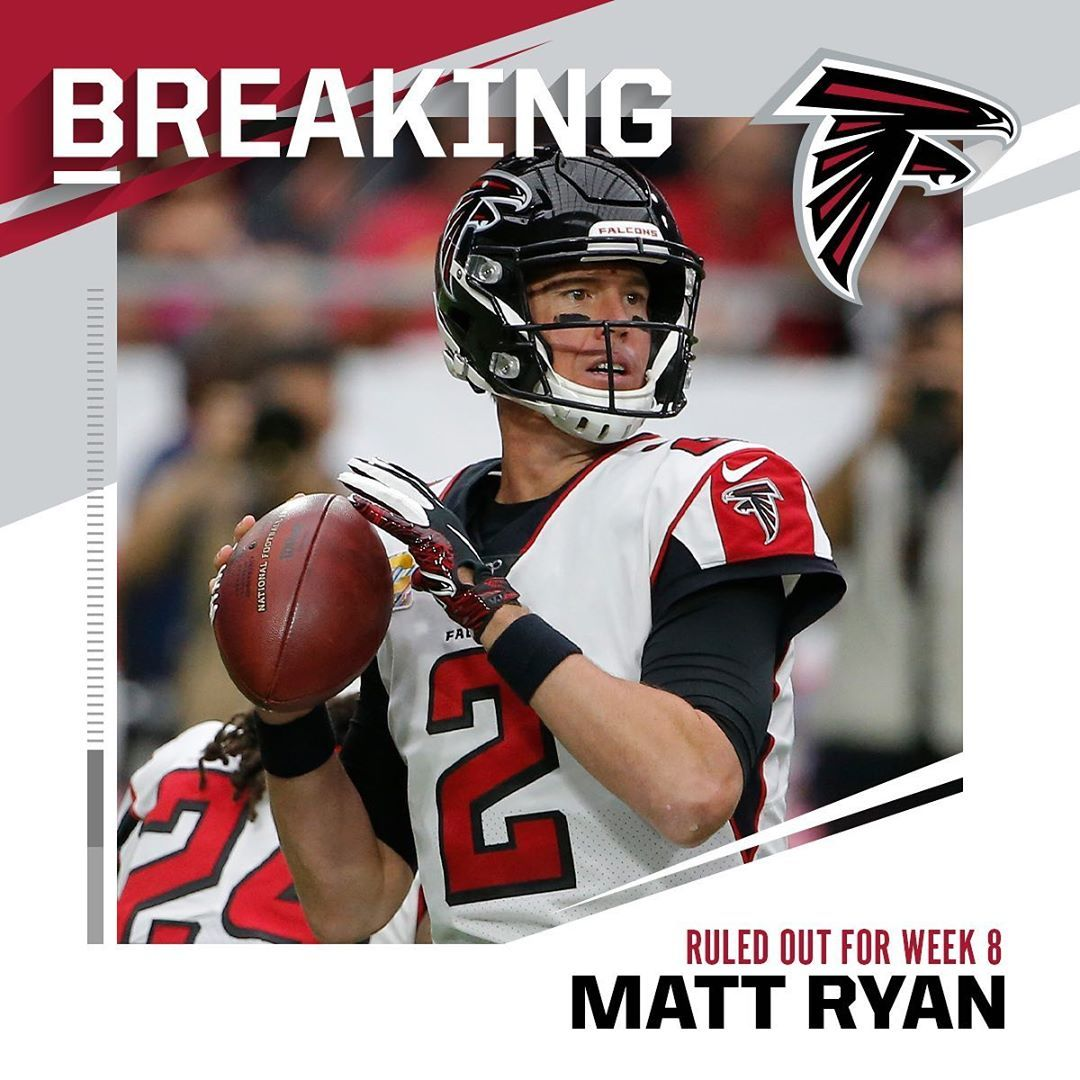 Nfl Atlantafalcons Qb Matt Ryan Ruled Out Ankle Week 8 Vs Seahawks Rick Scuta Big4 Bigfour Big4 Bigfour Big4 Matt Ryan Ryan Seahawks