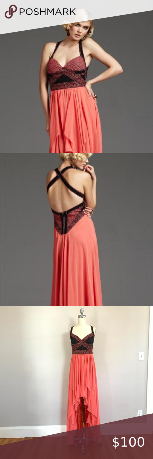 Mignon Black & Coral High Low Dress
