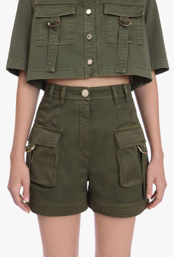 Pantalones Cargo Cortos De Talle Alto En Algodon Caqui Para Mujer Balmain Com Pantalones Cargo Moda De Ropa Ropa De Moda