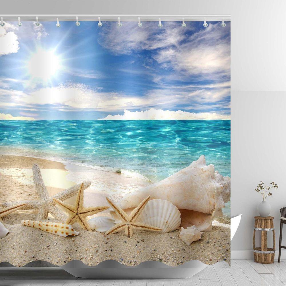 Blue Sky Sunshine Beach Shower Curtain Polyester Fabric Bathroom