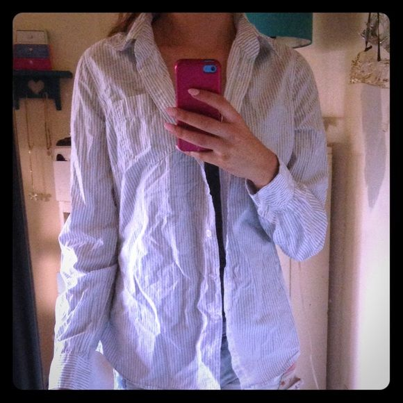 long sleeved collar blouse Blue pinstriped, buttoned, (100% cotton) aerie Tops Blouses