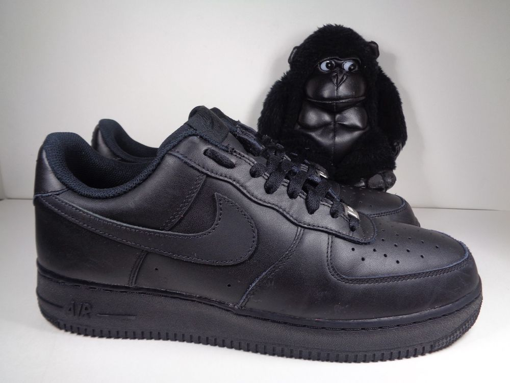 Details about Nike Air Force 1 Black Leather Athletic