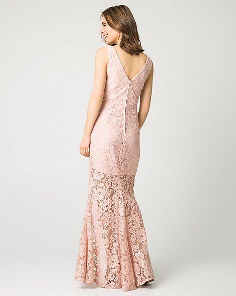 Lace V-Neck Gown | Pinterest | Gowns, Hemline and Feminine