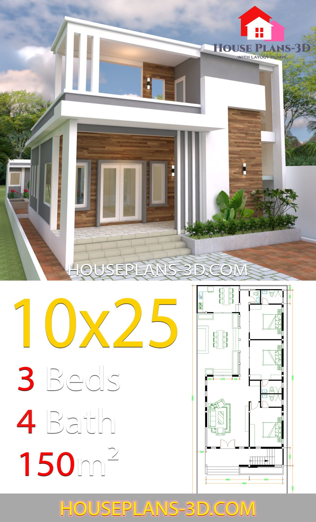 House Design Plans 10x25 With 3 Bedrooms House Plans 3d In 2020 House Plans House Design Modern House Plans