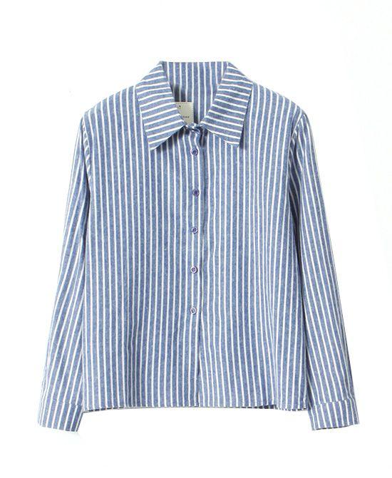 Preppy Style Vertical Stripes Blouse