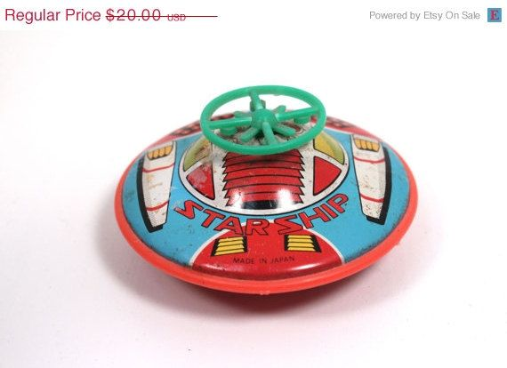 SALE Star Ship Space Tin Friction Toy by WarrenExchange on Etsy, $16.00