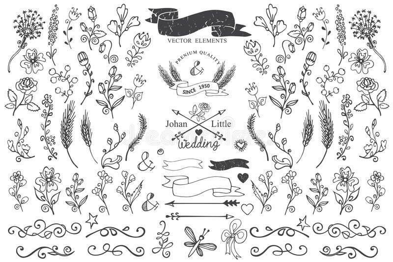 Doodle Borders Ribbons Floral Decor Element For Doodles Flowers Brunshes Decor Aff Doodle Handgezeichnete Umrandungen Blumen Malen Handgezeichnete Blumen
