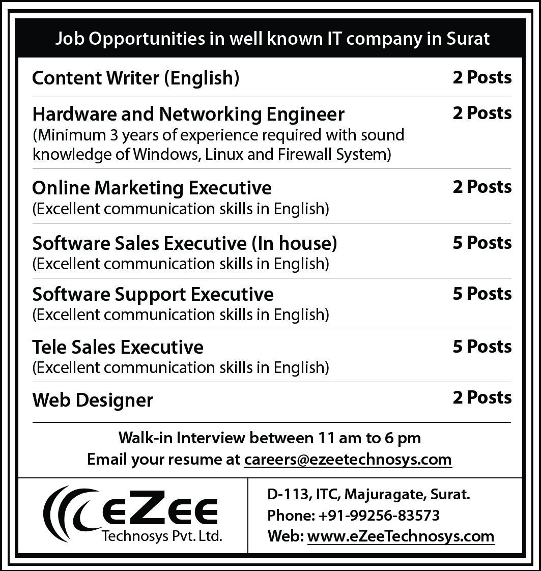 a splendid future awaits you at ezee technosys  surat  explore the opportunites and vacancies
