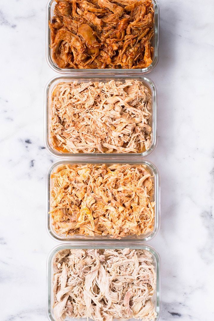 Slow Cooker Shredded Chicken Meal Prep #crockpotmealprep