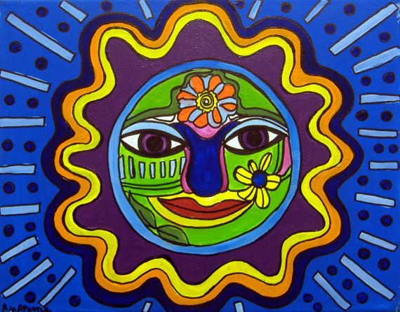 ORIGINAL PAINTINGMexican Folk Art  Sun   by by AVApostleDesign, $150.00