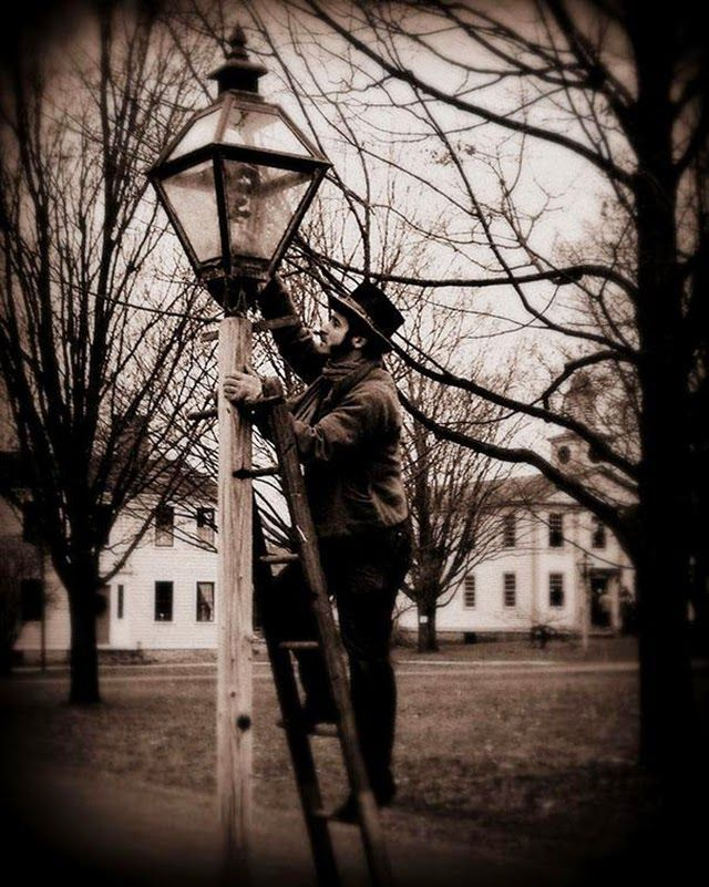 Lamplighters Used Long Poles To Light Extinguish And Refuel Street Lamps Until Electric Lamps Were Introduced From Vintage E Street Lamp Job Training Job