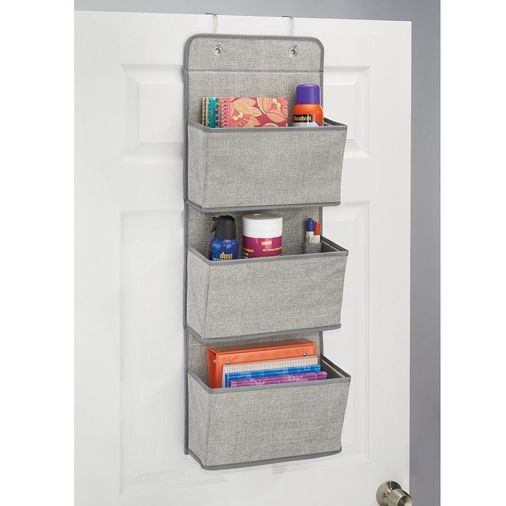 Amazon Com Mdesign Wall Mount X2f Over The Door Fabric Office Supplies Storage Organizer For Noteb Desk Organization Office Desk Organization Hanging Storage
