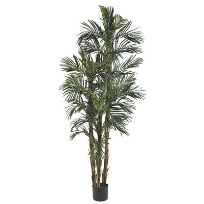 6' Robellini Palm Silk Tree.  Kick back and daydream of an African safari as you gaze at this amazing Kenya Style Robellini Palm Tree. A full 6 feet in stature, this grand palm tree is certain to command your attention. Thin pointy needle like fronds add a delicate touch while the rough jagged trunk has a more masculine appeal. The included basic black planter is all that is needed to keep this attractive tree in top shape. #robellinipalm #silktree