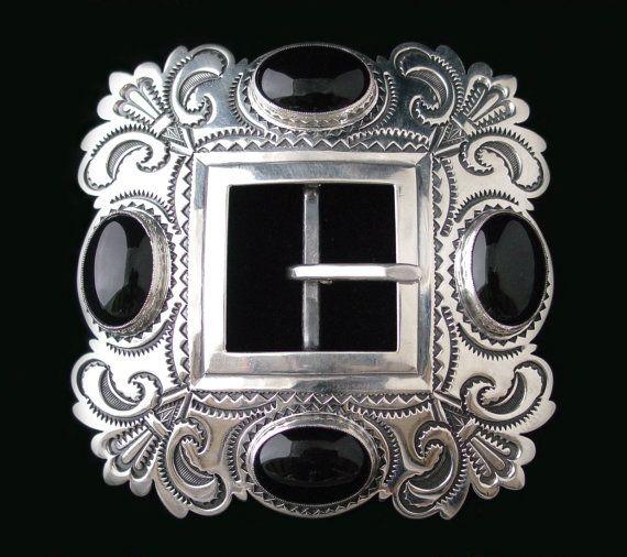 Sterling Silver Plaza hebilla Floral con Onyx negro...HECHO POR ENCARGO