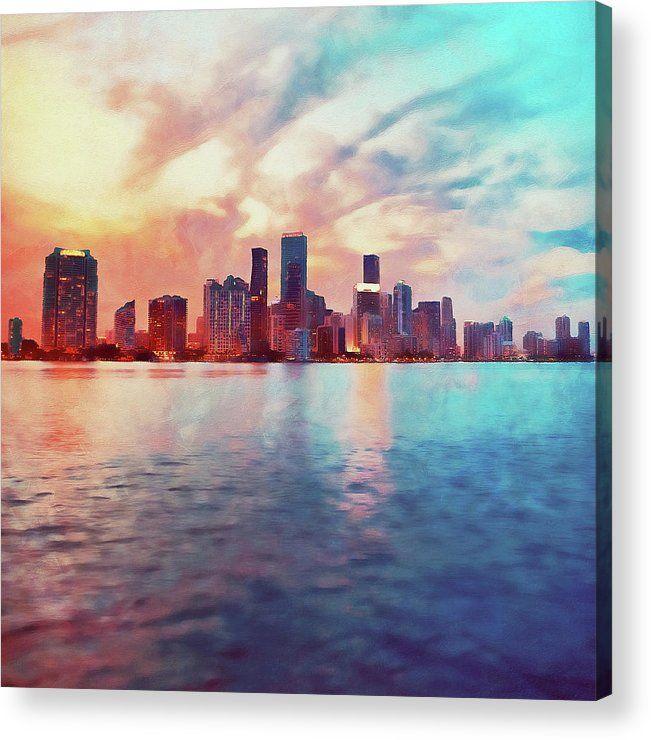 Miami Cityscape 02 Acrylic Print By Am Fineartprints