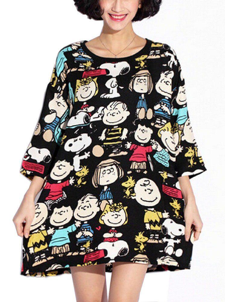 Women's Snoopy Cartoon Print Sweater Dress