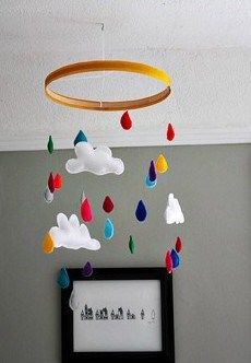 Click to read DIY Project. Free printable pattern to make raindrops and cloud out of felt.