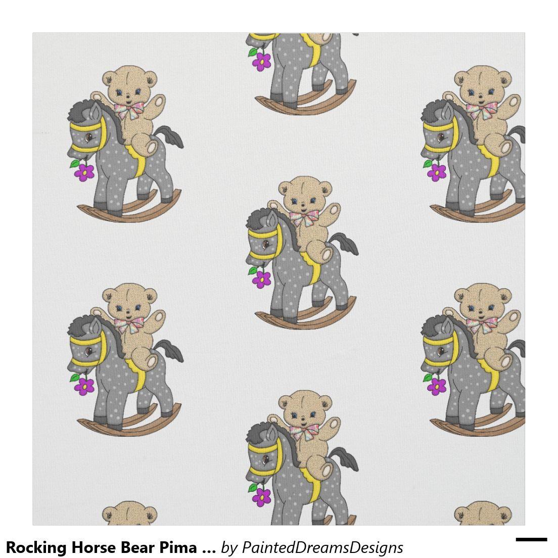 "Rocking Horse Bear Pima Cotton (54"" width) Fabric"
