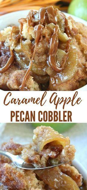 CARAMEL APPLE PECAN COBBLER #apple #dessert #falldesserts