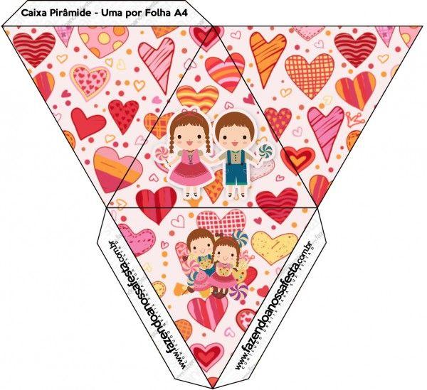 Caixa Pirâmide João e Maria Candy Colors: