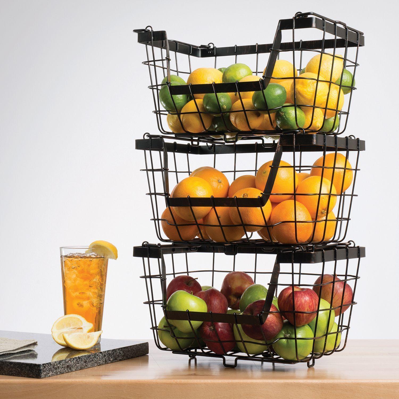 Giftburg 3 Piece Stacking Fruit Food Kitchen Baskets