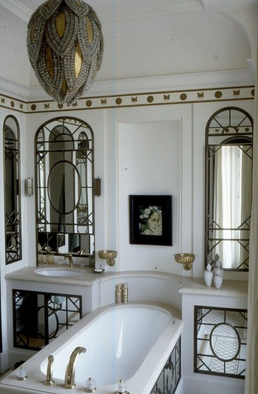 Inspired design white gold french bathroom old world for French inspired bathroom design