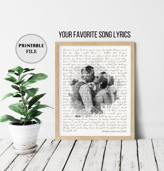 Custom Lyric Art Vows Personalized Gift, 1 Year Anniversary gift for Him, Her Song Lyrics Wall Art Paper Anniversary Gift for her PRINTABLE
