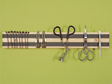a magnetic knife rack in the bathroom! I would put it on the back of cabinet door or medicine cabinet!