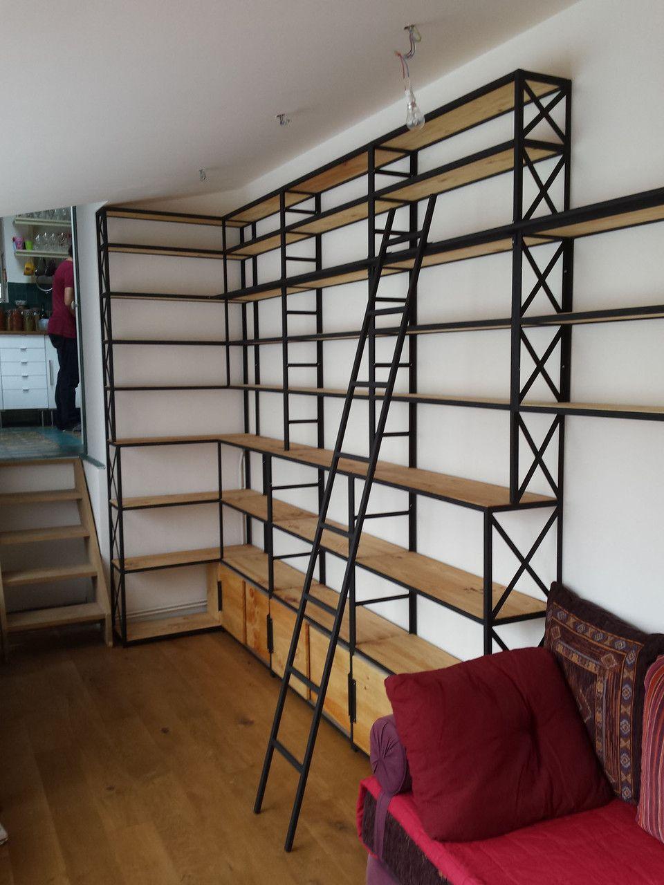 bibliotheques de style industriel la maison de l. Black Bedroom Furniture Sets. Home Design Ideas