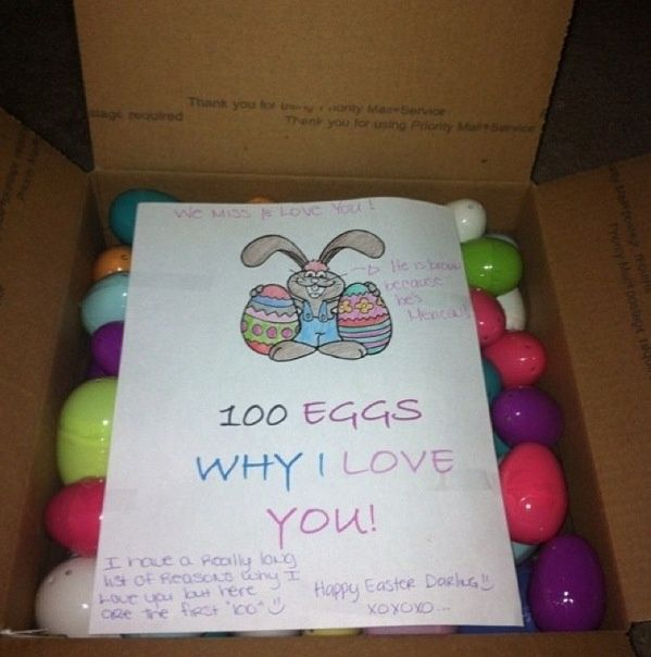 Pin by rachel badger duarte on care packages pinterest i like this for some eggs cute easter gift for boyfriend or husband inside each plastic egg put a slip of paper with a reason why you love him negle Image collections