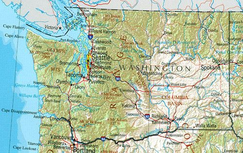 map of Washington State | Washington state map, Washington ...