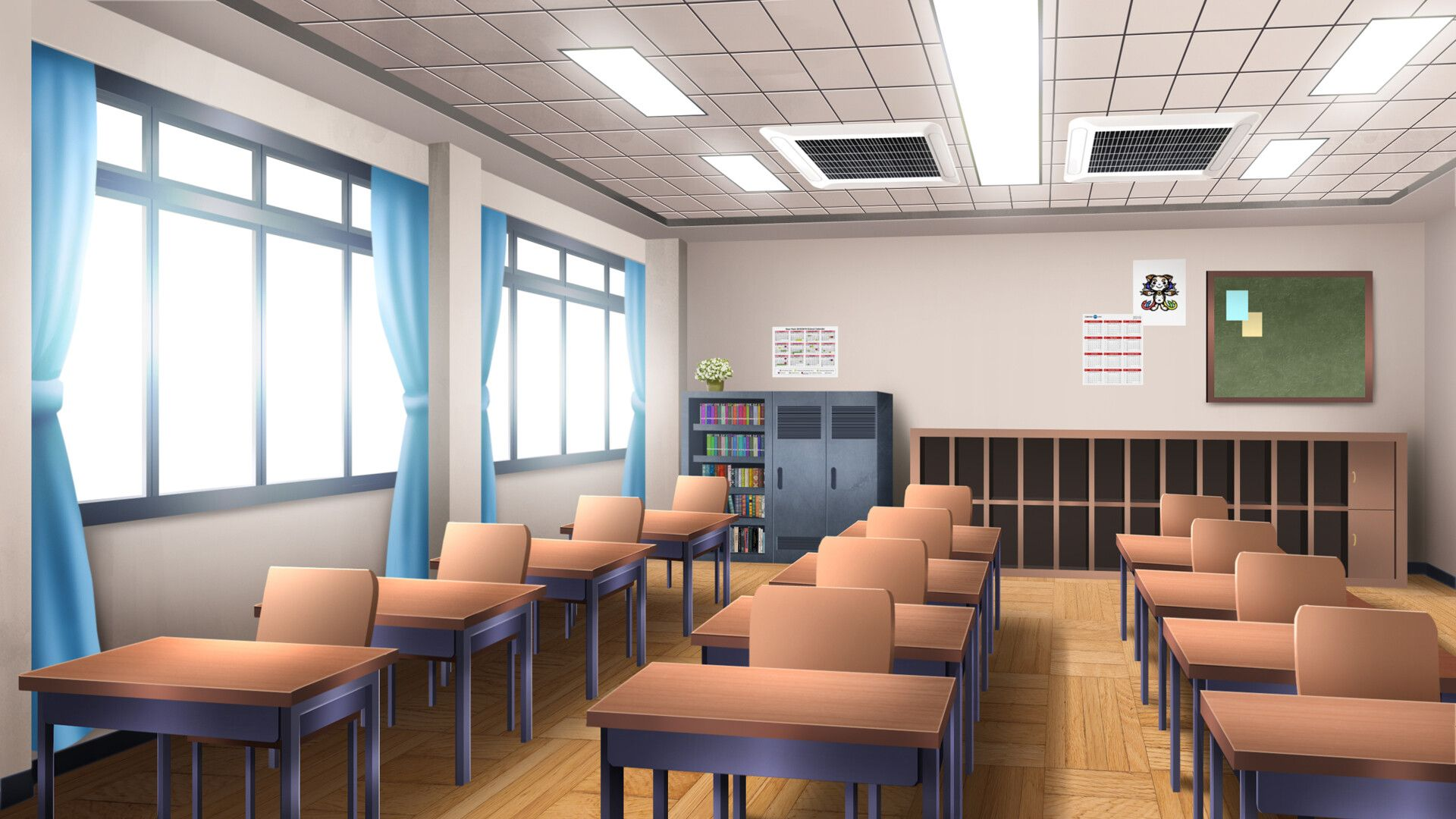 Artstation Classroom Visual Novel Bg Duy Tung In 2020 Anime Classroom Episode Interactive Backgrounds Living Room Background
