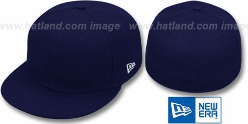 New Era '59FIFTY-BLANK' Solid Dark Navy Fitted Hat on hatland.com