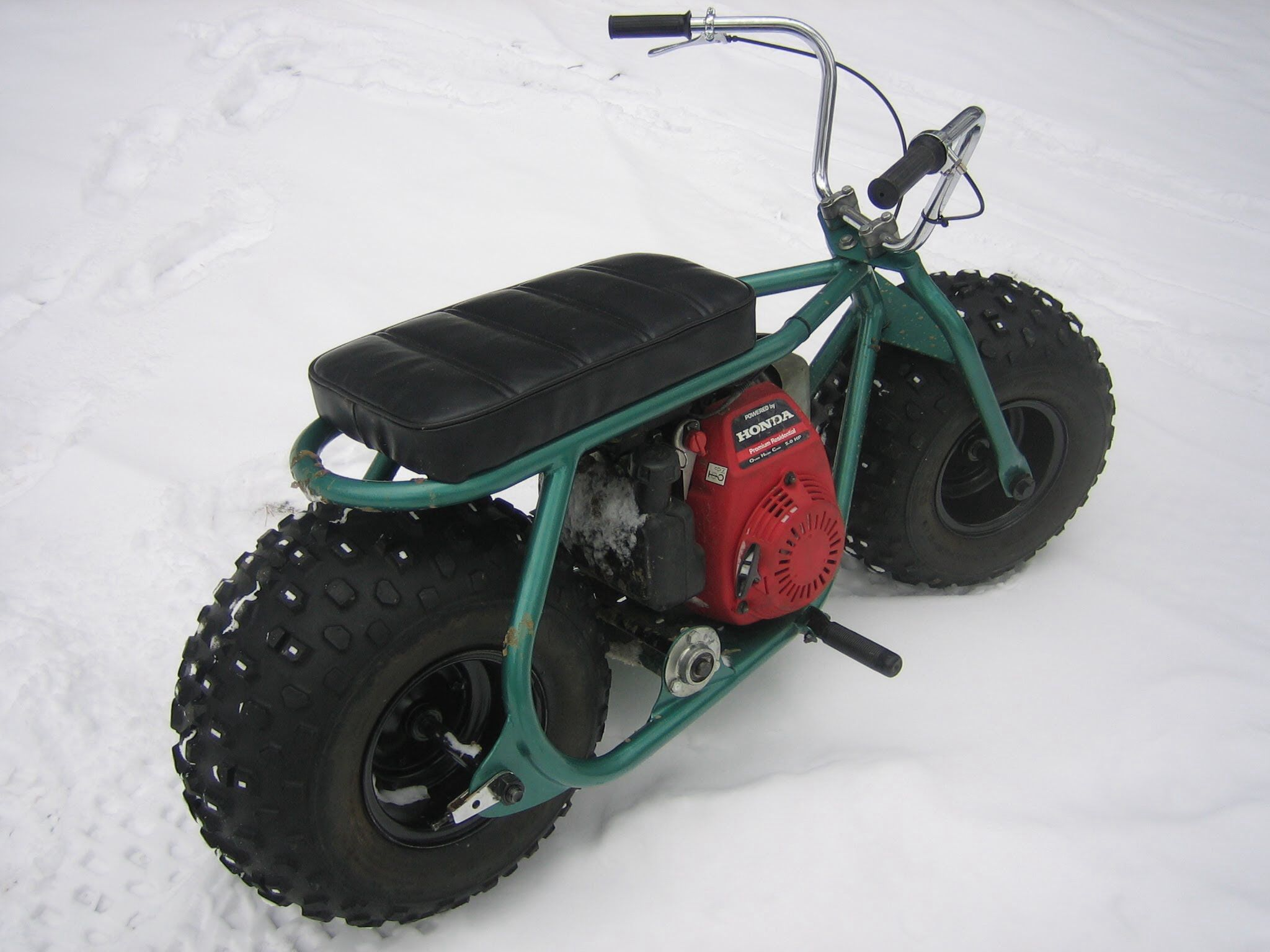 Fat Tire Homemade Custom Minibike In The Snow With Gc160 Honda