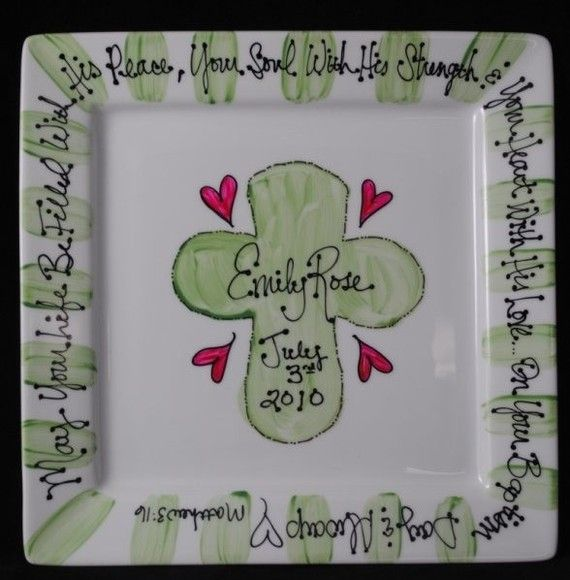 Baptism plate baby gifts pinterest baby baptism gifts baby items similar to personalized baptism plate hand painted baby plate with cross great baptism gift on etsy negle Gallery