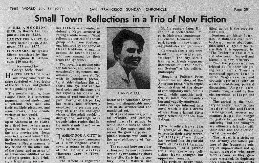 How newspapers reviewed \u0027To Kill A Mockingbird\u0027 in 1960 Pinterest