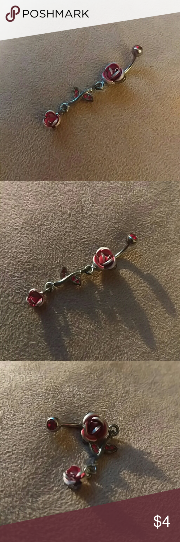 4 belly button piercing  LAST CHANCEDangly rose belly button ring
